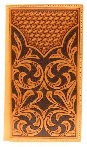 Nocona Floral Tooled w/ Basketweave Overlay Rodeo Wallet, Natural, hi-res