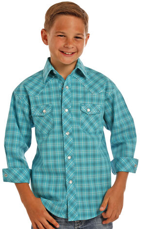 Rock & Roll Cowboy Boys' Turquoise Ombre Poplin Plaid Shirt , Turquoise, hi-res