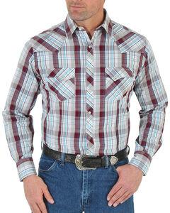 Wrangler Men's Plaid Western Long Sleeve Shirt - Tall, Rust Copper, hi-res