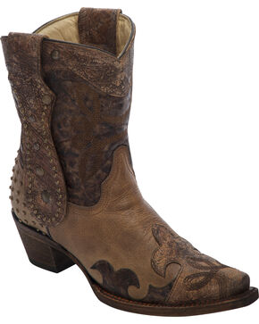 Corral Studded Long Pull Strap Short Cowgirl Boots - Snip Toe, Brown, hi-res