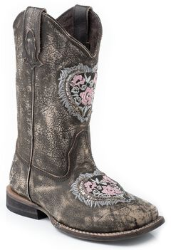 Roper Girls' Heart Embroidered Glitter Inlay Cowgirl Boots - Square Toe, , hi-res