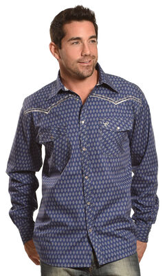 Cowboy Hardware Men's Navy Dashed Diamond Print Shirt , Navy, hi-res