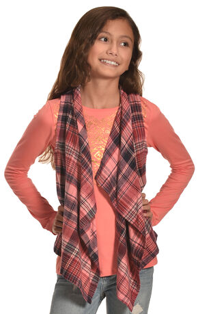 Derek Heart Girl's Coral Plaid Vest and Long Sleeve Tee Combo, Coral, hi-res