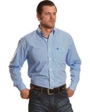 Wrangler George Strait Men's White/Bluegrass Long Sleeve Button Down Shirt, Blue, hi-res