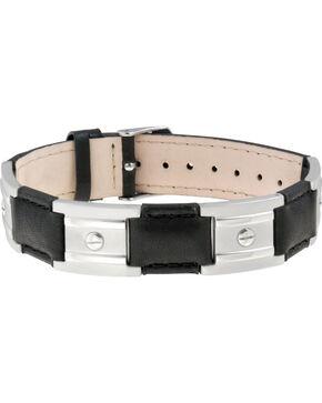 Sabona of Londond Black Leather Stainless Nailshead Magnetic Bracelet, Black, hi-res
