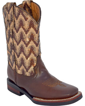 Ferrini Girls' Cowhide Sequin Western Boots - Square Toe, Distressed Brown, hi-res