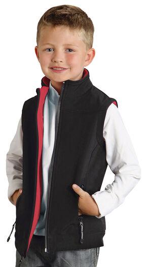 Roper Boy's Rangegear Hi Tech Fleece Vest, Black, hi-res