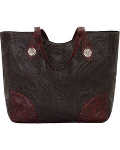 American West Annie's Secret Collection Chocolate Large Zip Top Tote, , hi-res