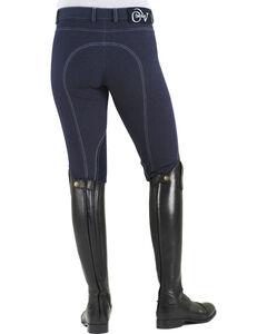 Ovation Women's Euro Jean Zip Front Knee Patch Breeches, , hi-res