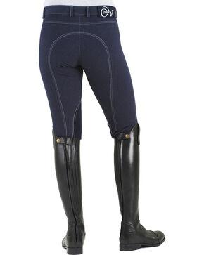 Ovation Women's Euro Jean Zip Front Knee Patch Breeches, Indigo, hi-res