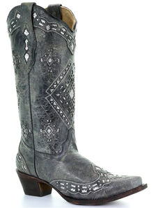 Corral Glitter Inlay Cowgirl Boots - Snip Toe, , hi-res