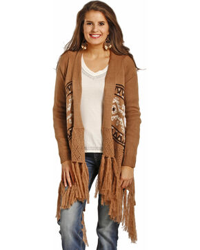 Powder River Outfitters Women's Tan Fringed Aztec Sweater , Tan, hi-res
