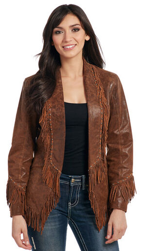 Cripple Creek Women's Studded Open Front Fringe Leather Jacket , Dark Brown, hi-res