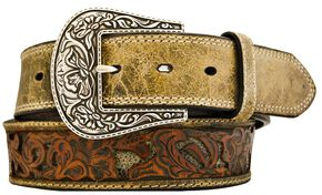 Stetson Fancy Tooled Overlay Distressed Leather Belt, Brown, hi-res