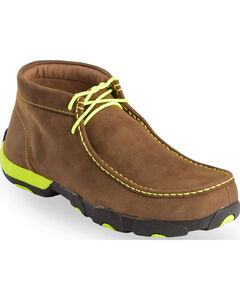 Twisted X Men's Brown & Neon Yellow Lace-Up Driving Mocs - Steel Toe , , hi-res