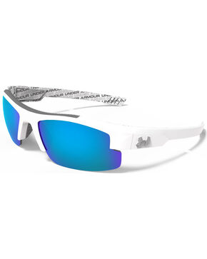 Under Armour Boys' Crystal Clear Blue Mirror Multiflection Nitro L Sunglasses, White, hi-res
