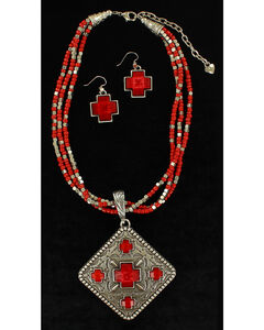 Blazin Roxx Women's Multi-Strand Diamond Pendant Necklace & Earrings Set, Red, hi-res