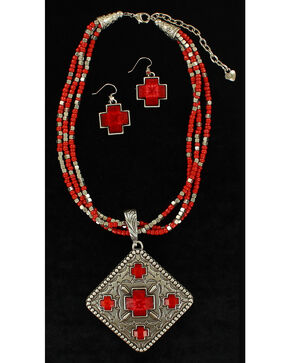 Blazin Roxx Women's Multi-Strand Diamond Pendant Necklace & Earrings Set, Red, hi-res