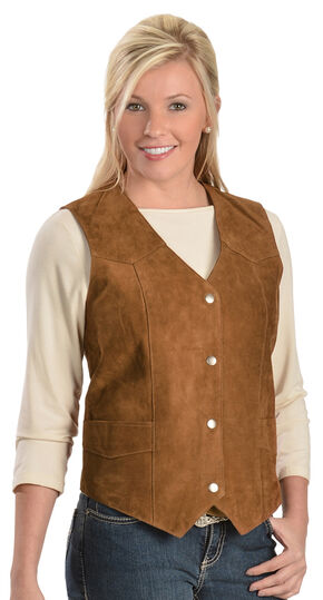 Women's Suede Vest, Brown, hi-res
