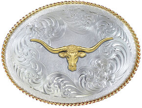 Montana Silversmiths 1350 Series German Silver Longhorn Western Belt Buckle , Multi, hi-res