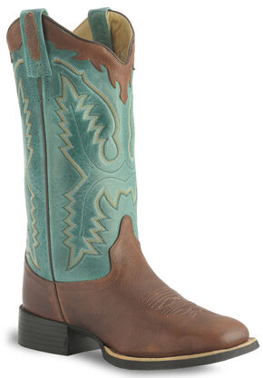 Old West Thunder Oil Cowgirl Boot - Wide Square Toe, Brown, hi-res
