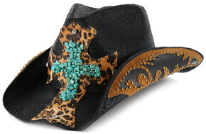 Shyanne Women's Turquoise Leopard Cross Cowgirl Hat, Black, hi-res