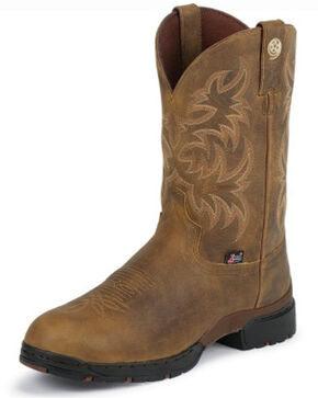 Justin Men's George Strait 3.1 Waterproof Cowboy Boots - Round Toe, Tan, hi-res