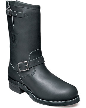 Chippewa Men's Odessa Black Engineer Boots - Steel Toe, Black, hi-res