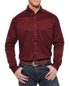 Ariat Burgundy Twill Long Sleeve Shirt, , hi-res