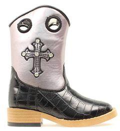 Blazin Roxx Children's Sonora Croc Print Zipper Cowgirl Boots - Square Toe, , hi-res
