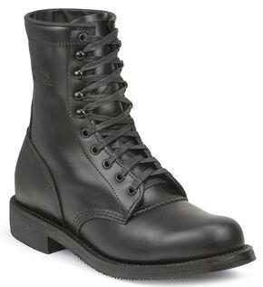 Chippewa Men's Whirlwind Black Service Boots - Round Toe, Black, hi-res