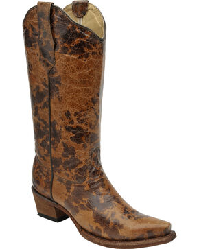 Circle G Women's Spotted Leather Cowgirl Boots - Snip Toe, Cognac, hi-res