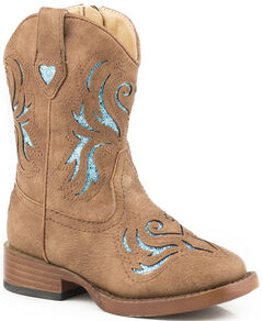 Roper Toddler Girls' Tan Glitter Breeze Cowgirl Boots - Square Toe , , hi-res