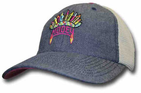 HOOey Girls' Blue Indian Feather Trucker Hat , Blue, hi-res