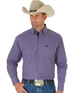 Wrangler George Strait Men's Troubadour Purple Jacquard Shirt, Multi, hi-res