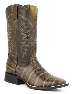 Roper Faux Exotic Caiman Print Leather Cowboy Boots, Brown, hi-res
