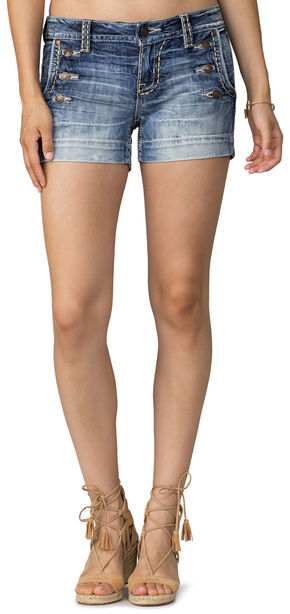 Miss Me Women's Indigo Nautical Visions Denim Short , Indigo, hi-res