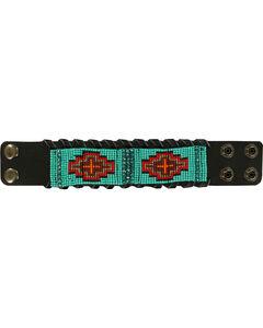 Blazin Roxx Leather Beaded Tribal Cuff, , hi-res