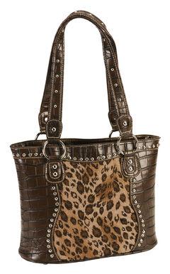 Blazin Roxx Croc Print Leopard Inlay Shoulder Handbag, , hi-res