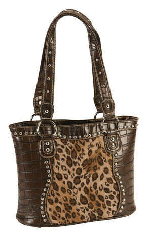 Blazin Roxx Croc Print Leopard Inlay Shoulder Handbag, Brown, hi-res