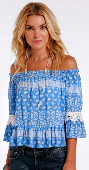 Panhandle Slim Women's Blue Paisley Print Off the Shoulder Shirt , Blue, hi-res
