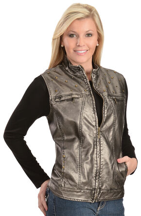 Erin London Women's Platinum Faux Leather Rubbed Vest, Grey, hi-res