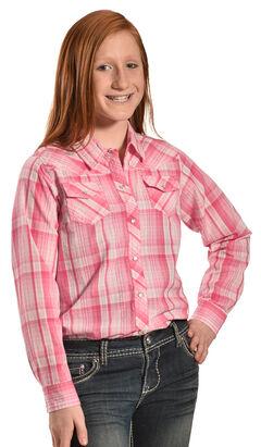 Cumberland Outfitters Girls' Pink Lurex Plaid Western Shirt , Pink, hi-res
