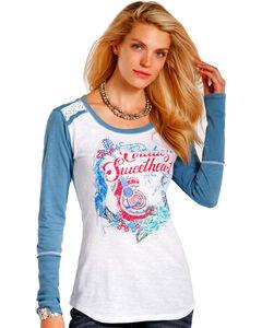Panhandle Women's White Cowboy Sweetheart Graphic Shirt , , hi-res