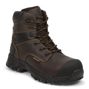 "Justin Men's Work Tek 6"" Waterproof Lace-Up Work Boots - Composition Toe, Brown, hi-res"