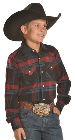 Ely Cattleman Boys' Black and Red Plaid Flannel Western Snap Shirt, , hi-res