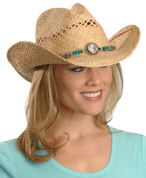 Blazin Roxx Faux Turquoise Stone Bling Raffia Straw Cowgirl Hat, Natural, hi-res