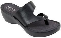 Eastland Women's Black Laurel Wedge Thong Sandals, , hi-res