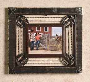 "Barbed Wire & Horseshoe Frame - 8"" x 10"", Brown, hi-res"