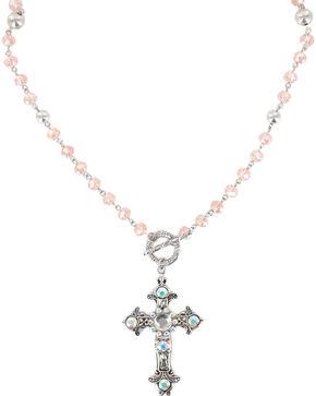 Shyanne Women's Vintage Cross Necklace , Pink, hi-res